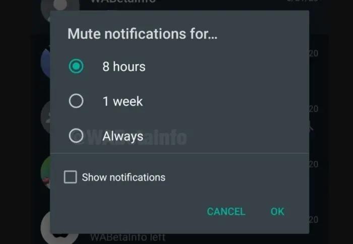 Silenciar conversaciones WhatsApp