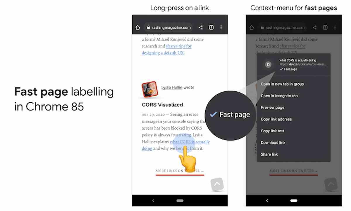Chrome para Android mostrará cuando una web móvil es rápida