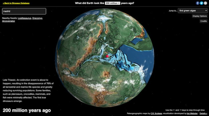 mapa virtual ancient earth para ver la tierra millones de años atras
