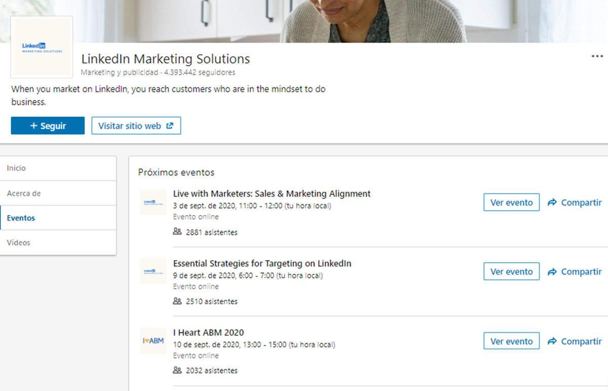 LinkedIn ahora muestra los eventos virtuales organizados por las páginas