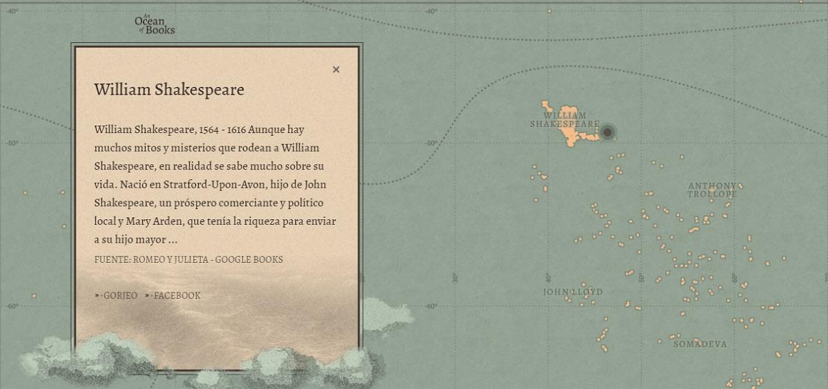 Un océano de libros, el proyecto de Google para que encuentres libros y autores en cada isla del mapa