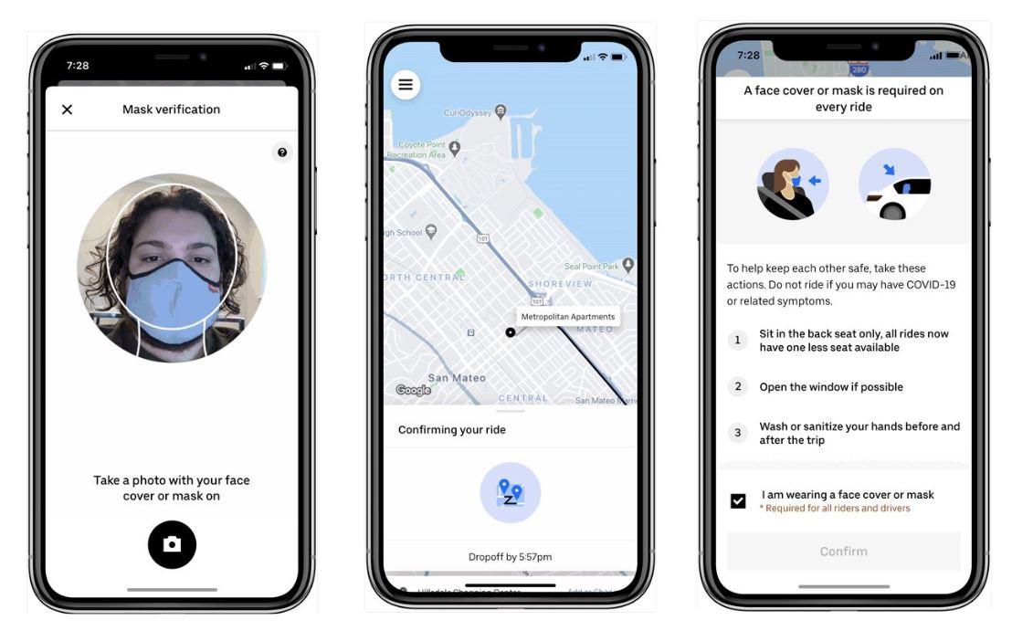 Uber podrá pedir selfie con máscara para poder subir a un coche