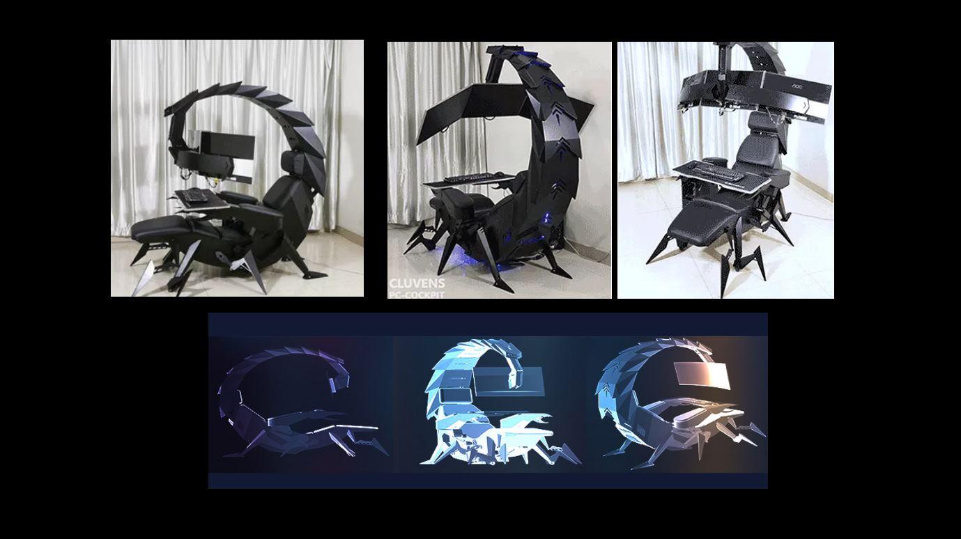 Una silla gamer ajustable con forma de escorpión