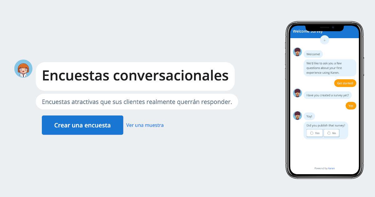 Curious Karen, para crear encuestas en formato de chat