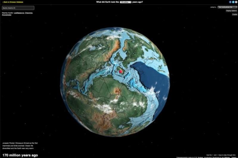 mapa interactivo que muestra como era un sitio hace millones de años