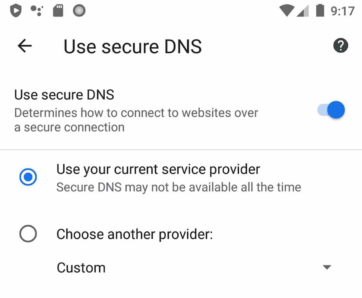 Secure DNS en Chrome para Android