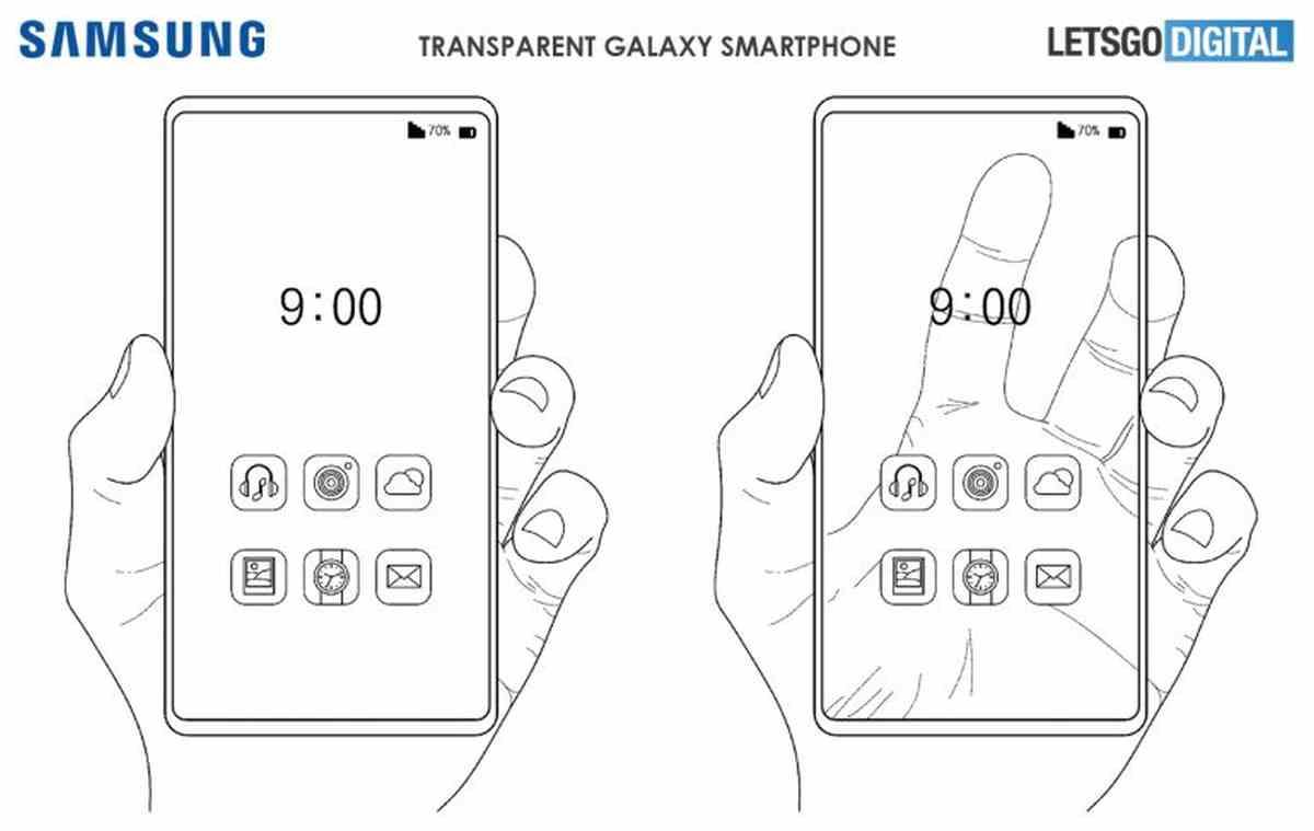 Esta es la nueva patente de Samsung para un teléfono móvil con pantalla transparente