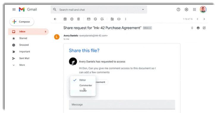 Ahora es más fácil compartir archivos de Drive desde Gmail