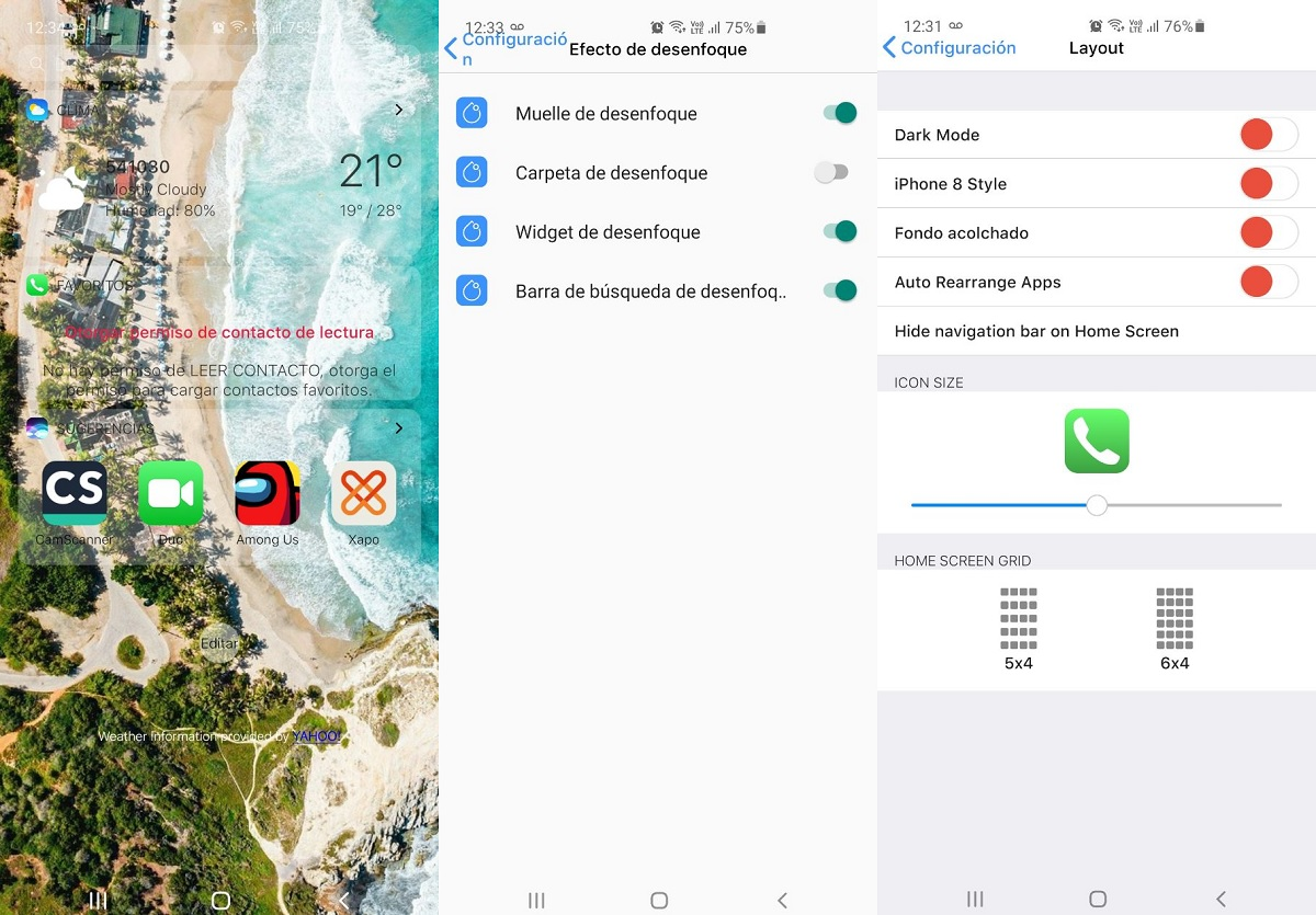 Opciones de ajustes iOS Launcher