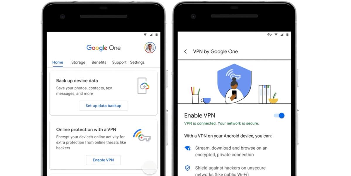 Google One agrega su propia VPN para Android en algunos de sus planes