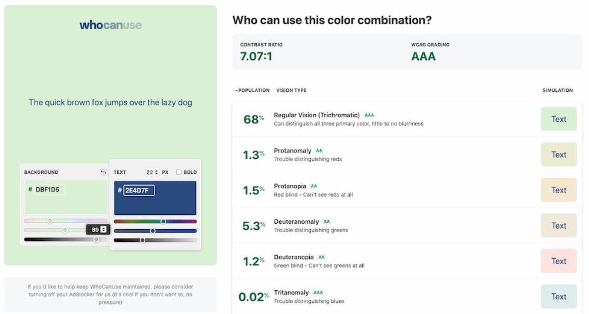 who can use herramienta que muestra como perciben las personas los colores en un sitio web