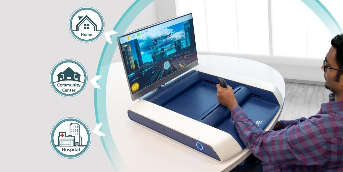 Dispositivo de juego diseñado para rehabilitación de accidentes cerebrovasculares en casa