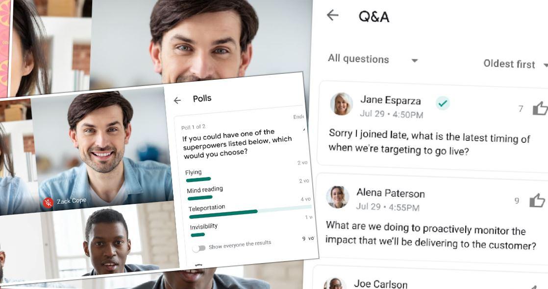 Google Meet presenta encuestas y Preguntas y Respuestas en videollamadas