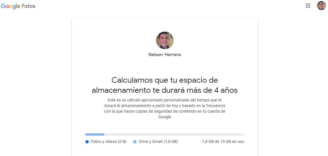 ¿Cómo calcular cuánto espacio de almacenamiento gratuito me queda en Google Fotos?
