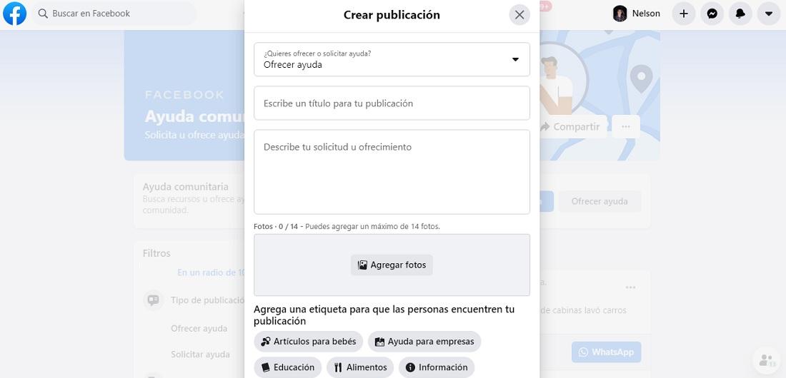 Ofrecer ayuda Facebook