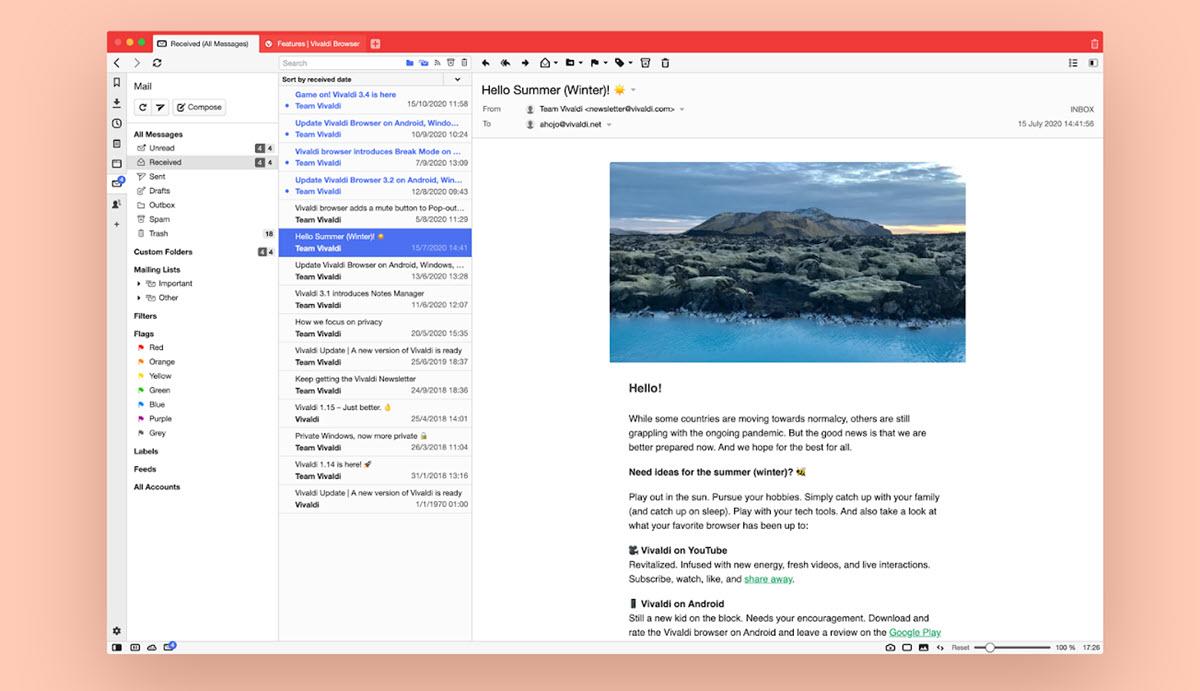 Vivaldi tiene su propio cliente de correo electrónico integrado en el navegador web