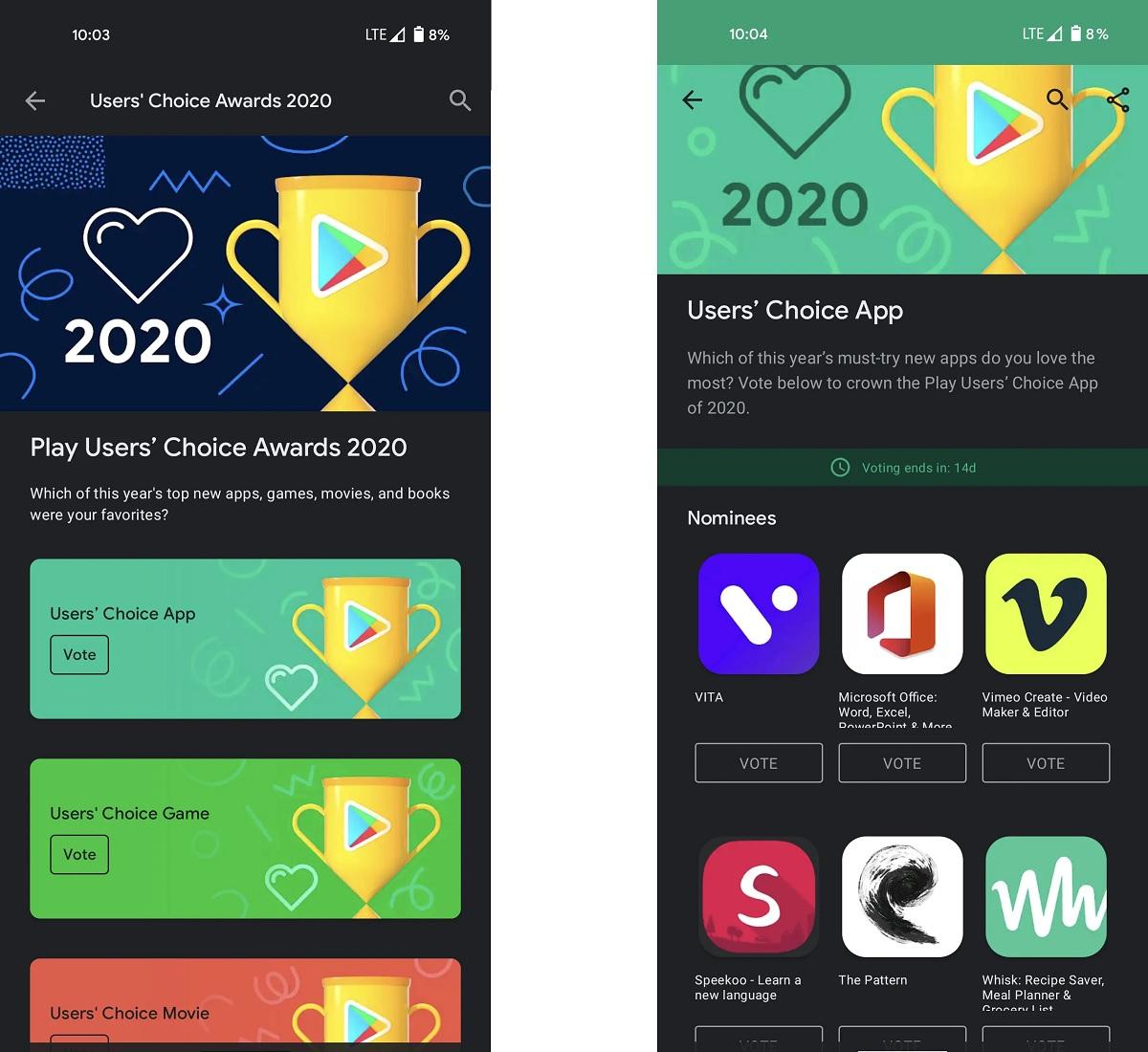 Votar mejores apps y juegos de Google en el 2020