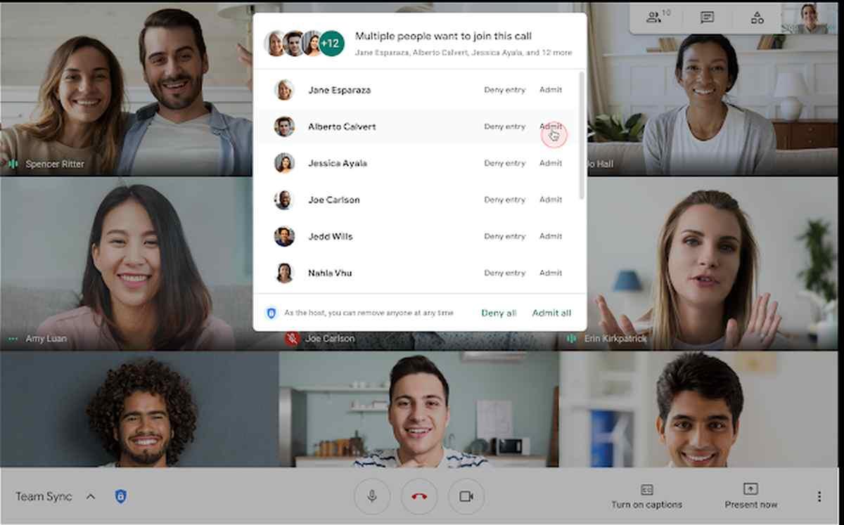 Google Meet ya permite admitir todas las solicitudes a una sesión simultáneamente
