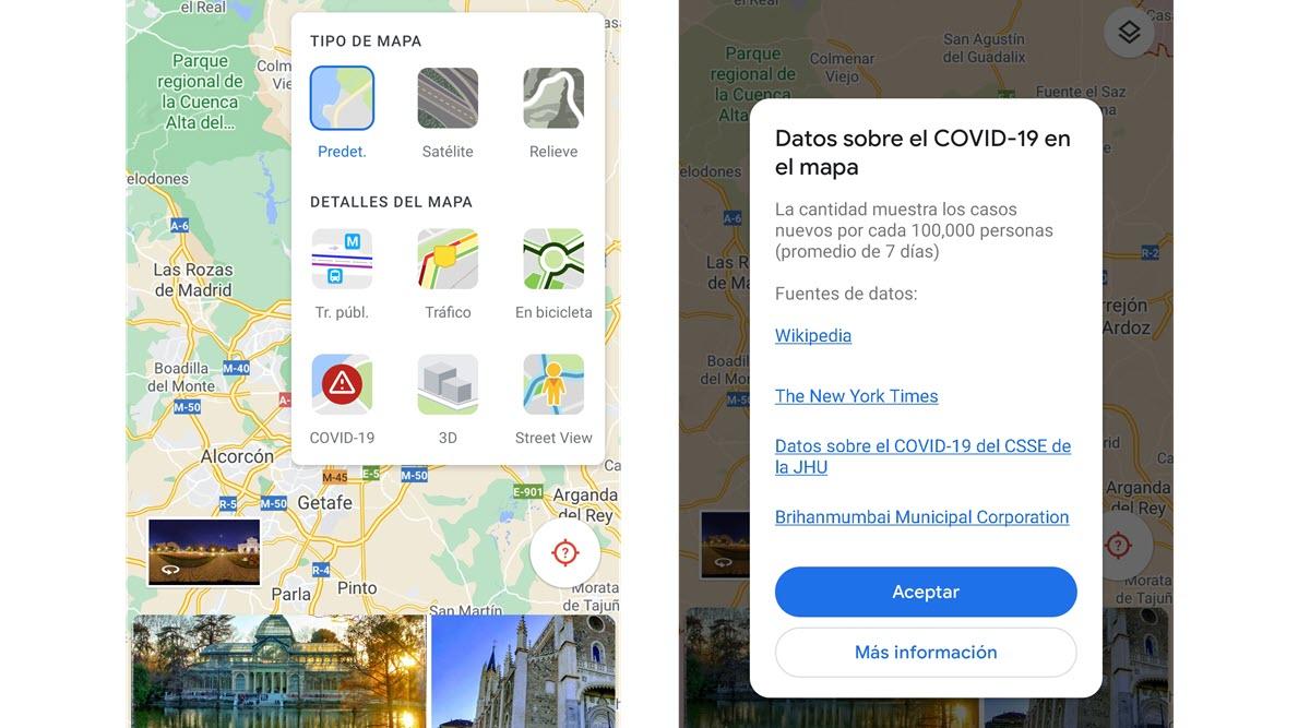 capa COVID-19 Google Maps