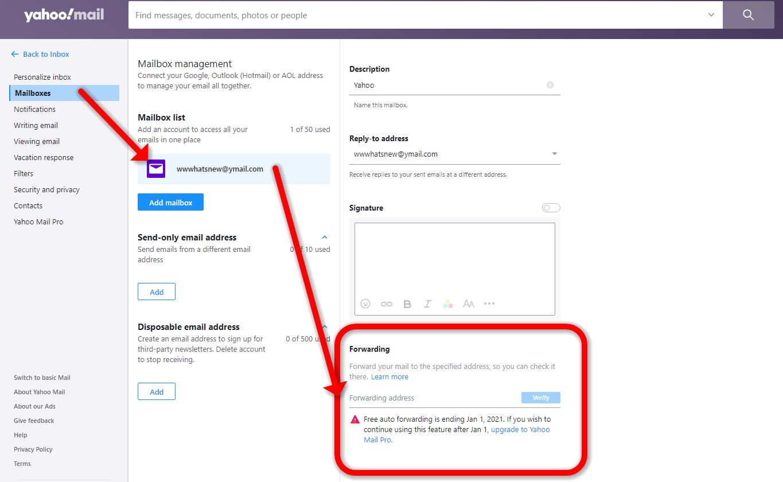 Yahoo Mail prohíbe el reenvío automático de correo electrónico para usuarios gratuitos