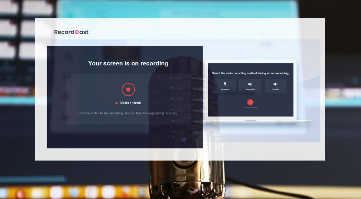 RecordCast, para screencast gratuito sin instalar nada