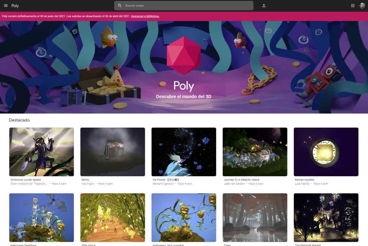 Google cerrará Poly, su biblioteca de objetos 3D, a principios del próximo verano