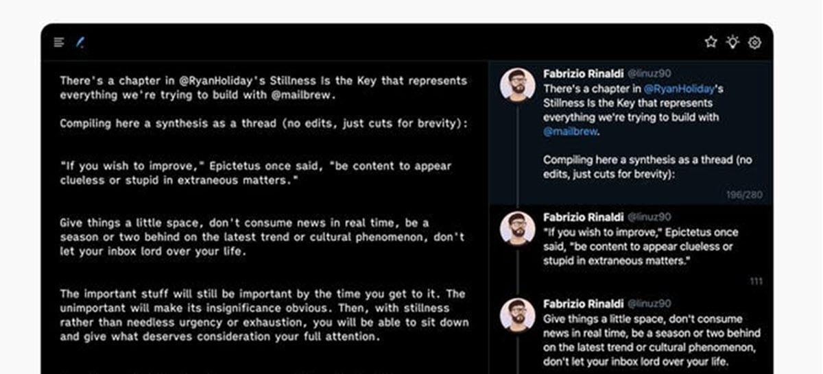 Un editor minimalista para escribir tweets sin distracciones