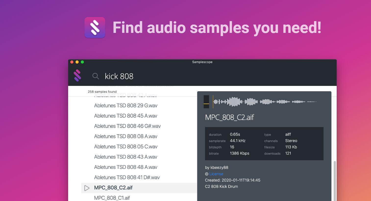 Samplescope, un programa para obtener audio gratis para usar en nuestros proyectos