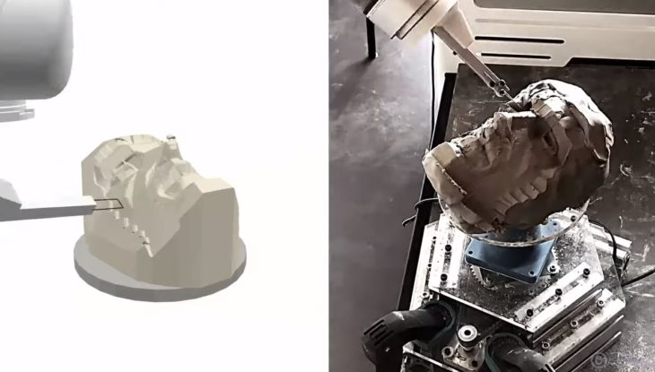 robots esculpiendo