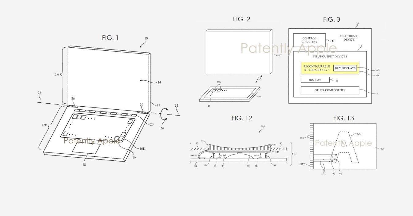 Una nueva tecnología patentada por Apple para poner una pequeña pantalla en cada tecla del teclado