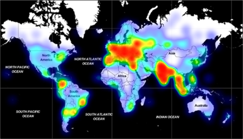 adrozek malware spread map