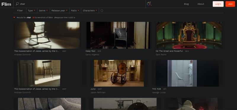 flim movie screenshot search tool