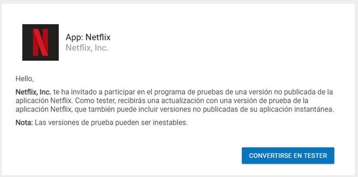 probar funciones experimentales de Netflix