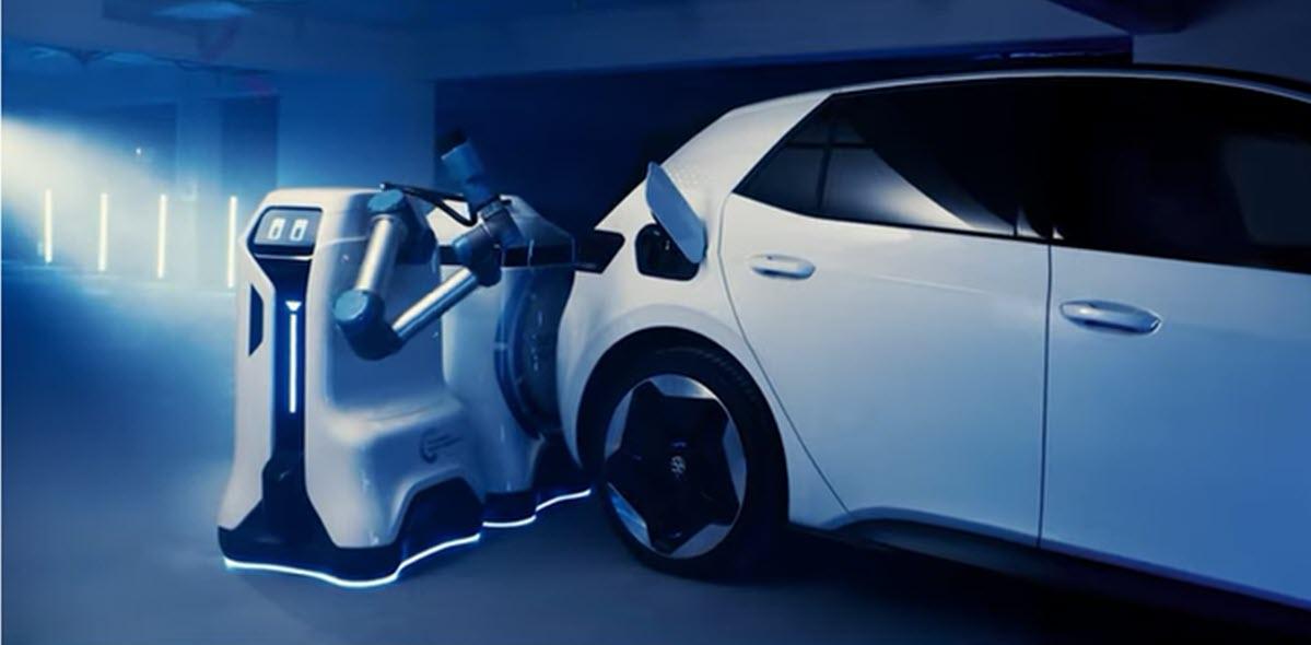 Volkswagen muestra su robot autónomo para la recarga de coches eléctricos
