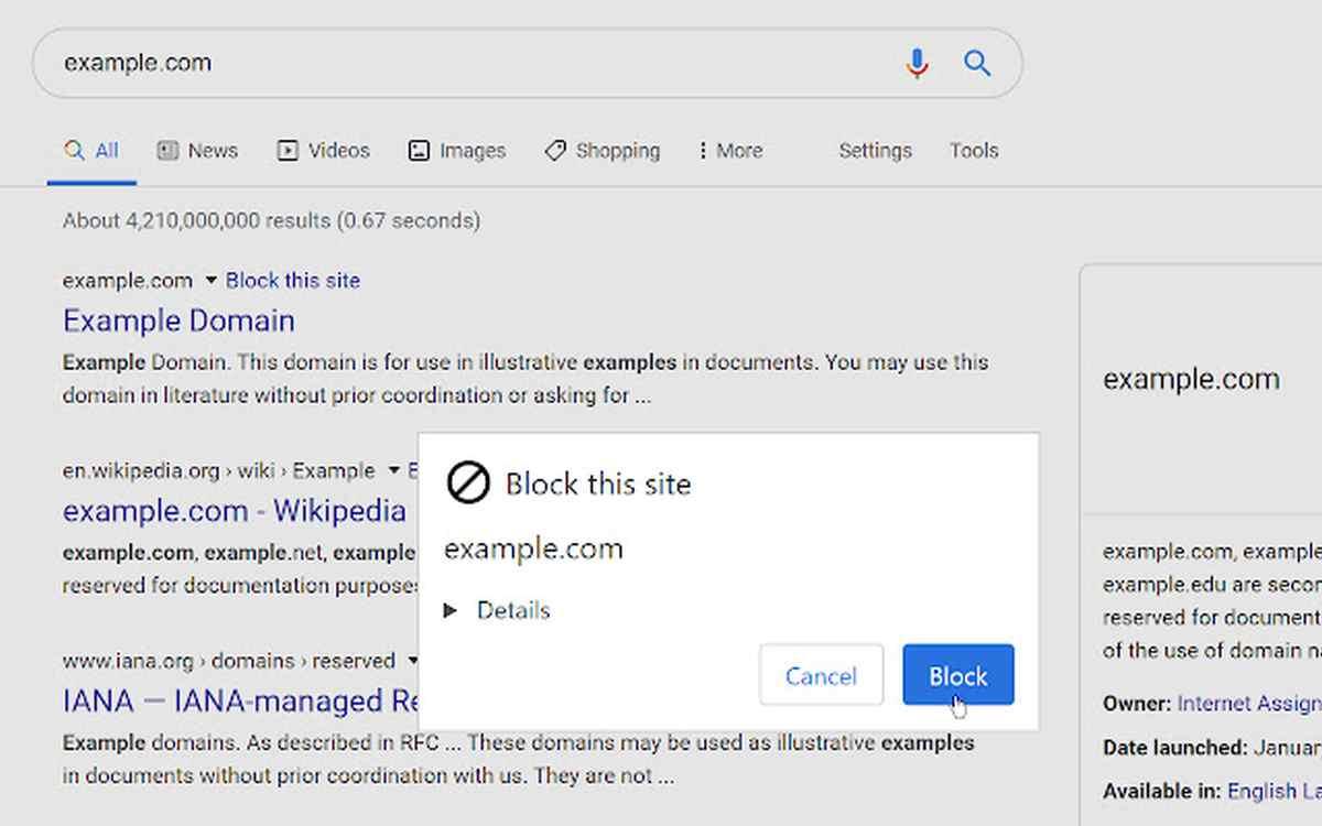 Para bloquear sitios web en los resultados de búsquedas con Google