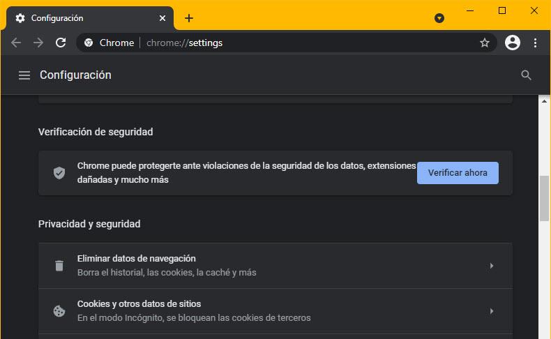 verificación de seguridad Chrome
