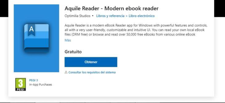 Aquile Reader, app para Windows 10 con la cual podrás leer y descargar gratis libros electrónicos