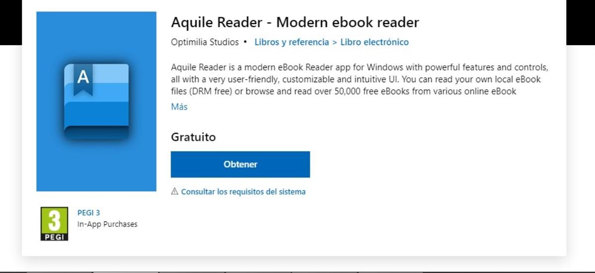 Aquile Reader, app para Windows 10 para leer y descargar gratis libros electrónicos