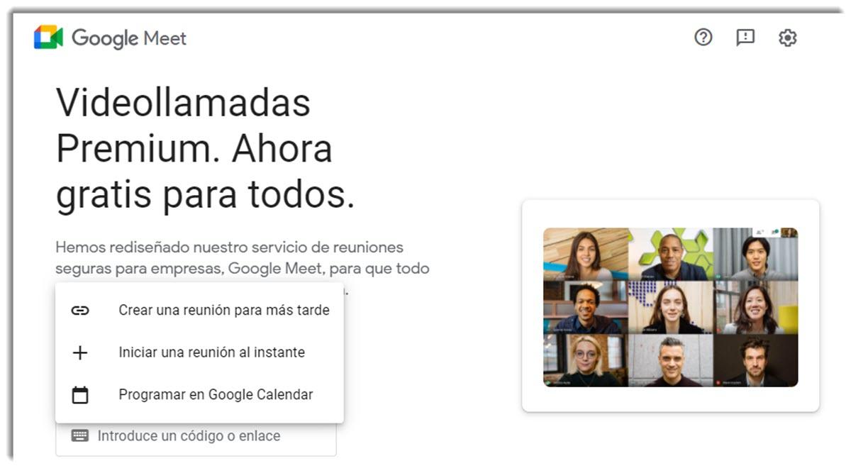 Google Meet tiene nuevas opciones para iniciar reuniones