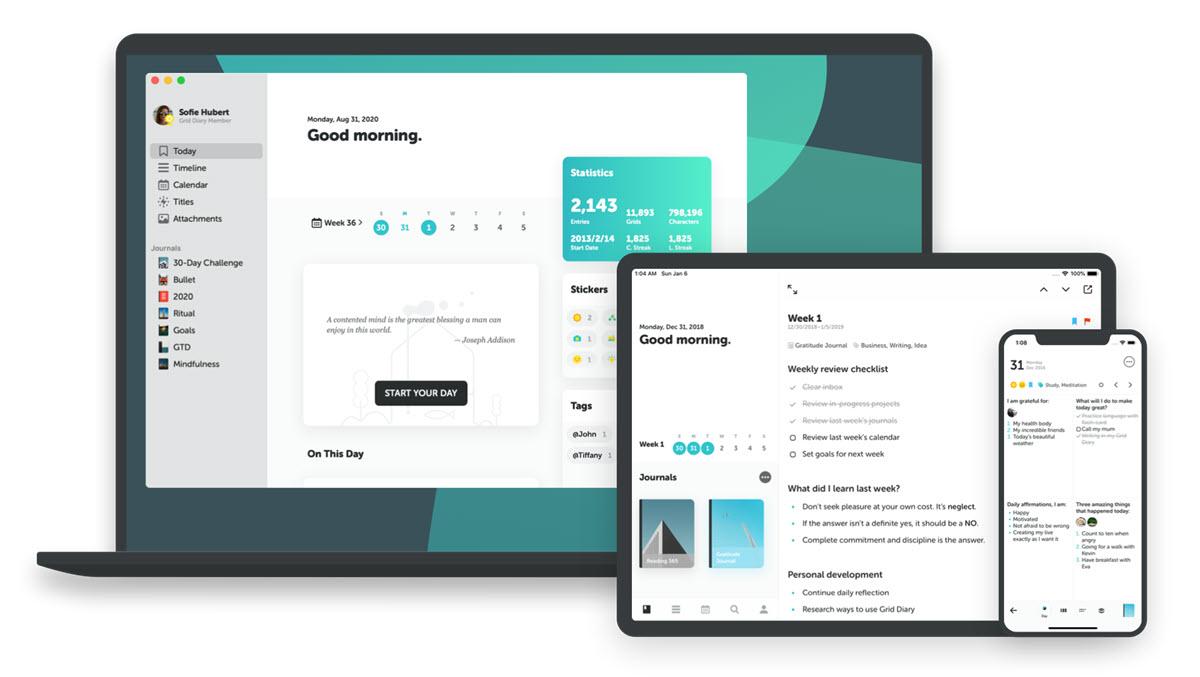 Una app con plantillas para usar como planificador y diario personal
