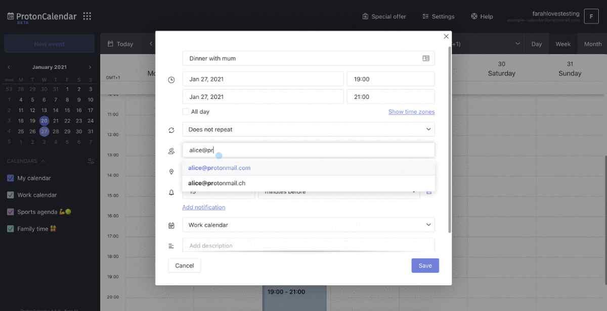 Proton Calendar, de ProtonMail, ya permite invitar a cualquier amigo a los eventos
