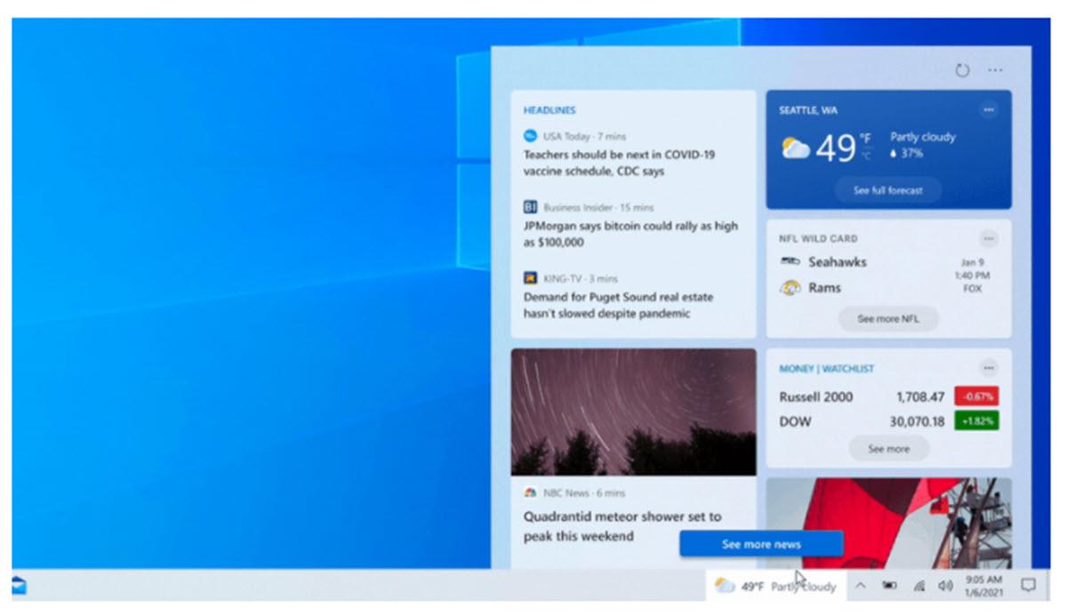 Windows 10 lleva las noticias y actualizaciones del clima a la barra de tareas