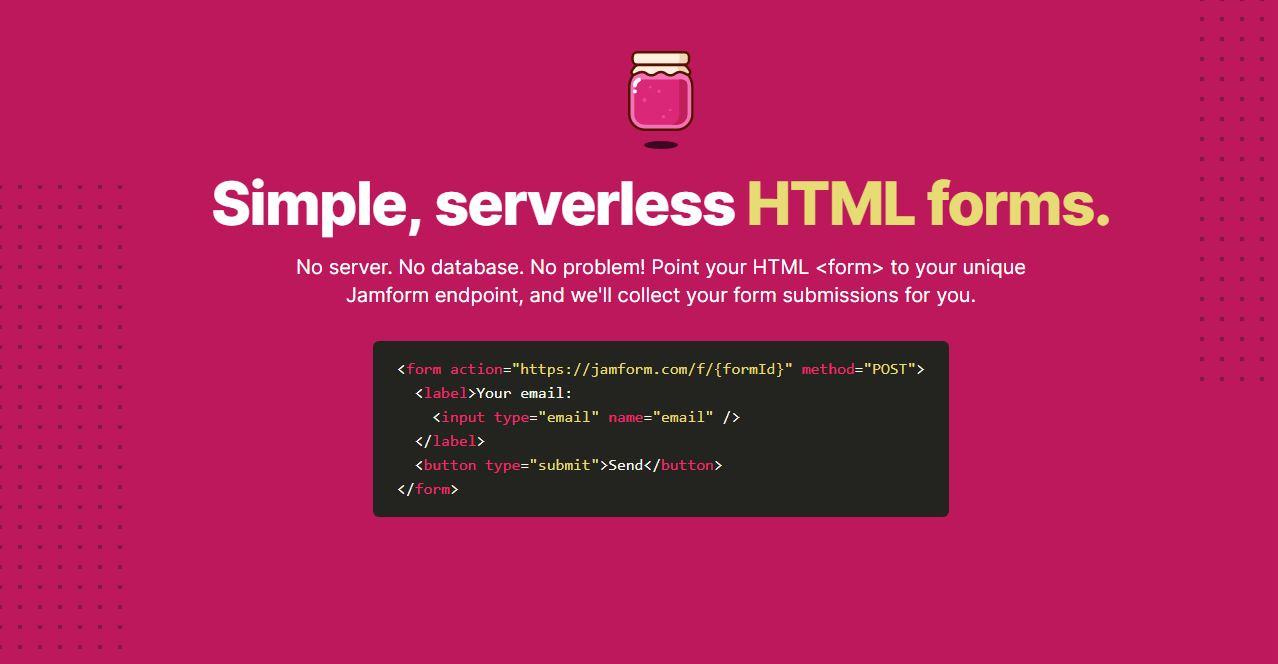 Jamform, una excelente solución de formularios para tu sitio web