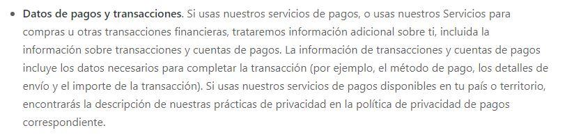 Datos de transacciones y pagos