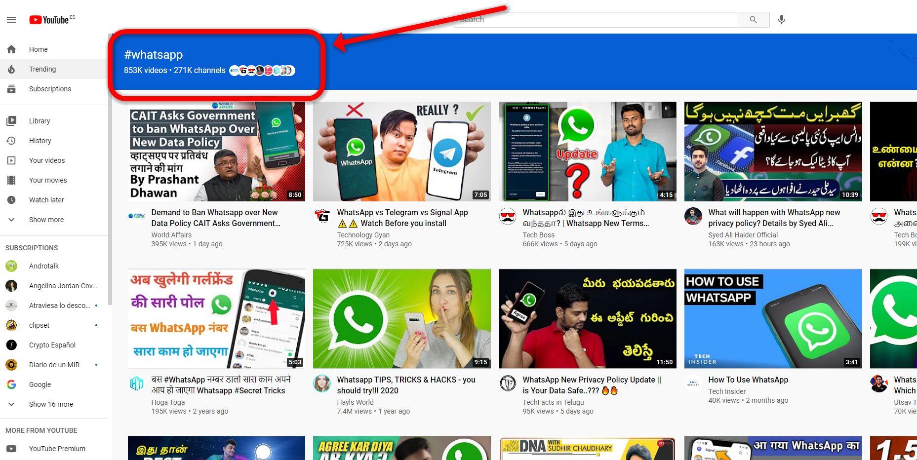 Nueva forma de navegar por Youtube usando hashtags