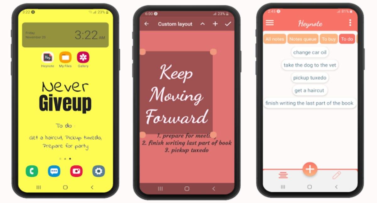 Esta app permite crear notas y lista de tareas en el fondo de pantalla del móvil