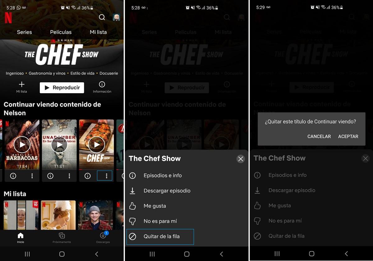 Quitar títulos Netflix desde el móvil