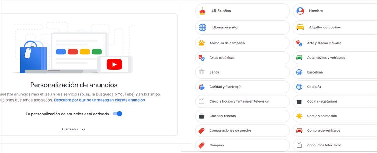 Una página para saber lo que Google sabe de ti