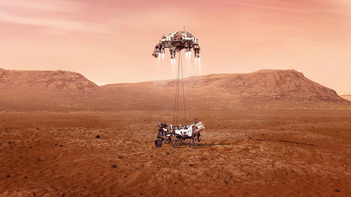 Así es la primera imagen enviada por el rover Perseverance tras su exitoso aterrizaje en Marte