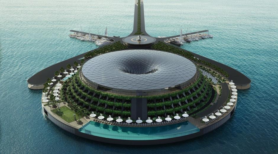 El concepto de hotel flotante y rotatorio que quiere arrasar en Catar